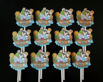 Noah's Ark cupcake toppers - set of 12, Noah's Ark baby shower