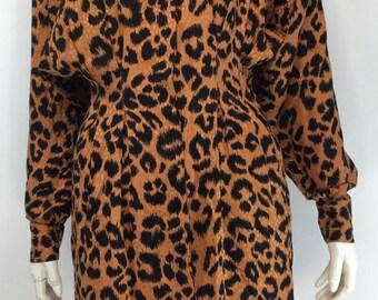 80's Silk Leopard Mini Dress size 4 Small