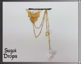 Golden Butterfly hair clip