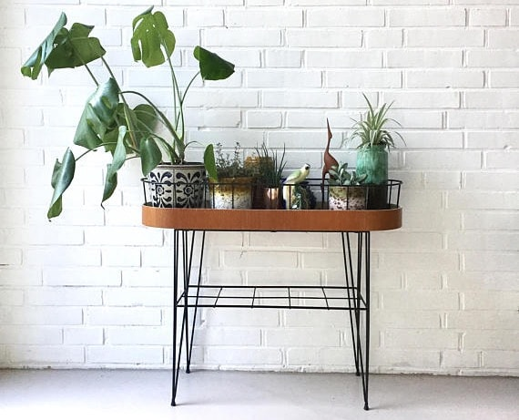 Vintage plant stand, flower table teak, flower stool retro, string shelf, 50 years of IKEA, vintage side table