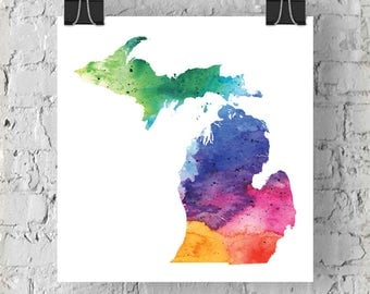 Michigan Watercolor Map - Giclée Print of Hand Painted Original Art - 5 Colors to Choose From