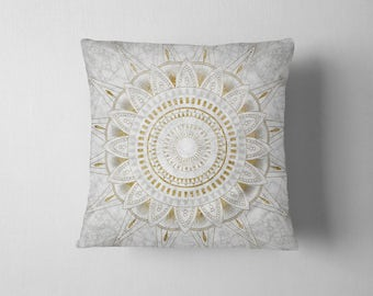 Marble and gold mandala throw pillow