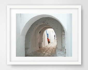 Travel photography, white alley, photo art, arched doorway, greek island, street photography, Naxos Greece photography, greek art, wall art