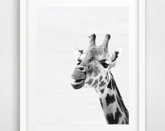 Childern wall art, giraffe print, nursery wall art for boy, photo art, cool posters, black and white prints, safari animal, cool wall art,