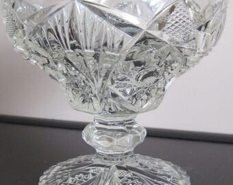 EAPG  Imperial Nucut #212 footed Compote AKA Diamond with Fan sawtooth scalloped rim ca 1912