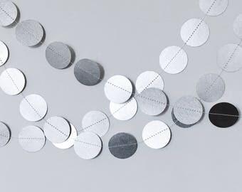 Metallic Silver Paper Circle Garland 7ft