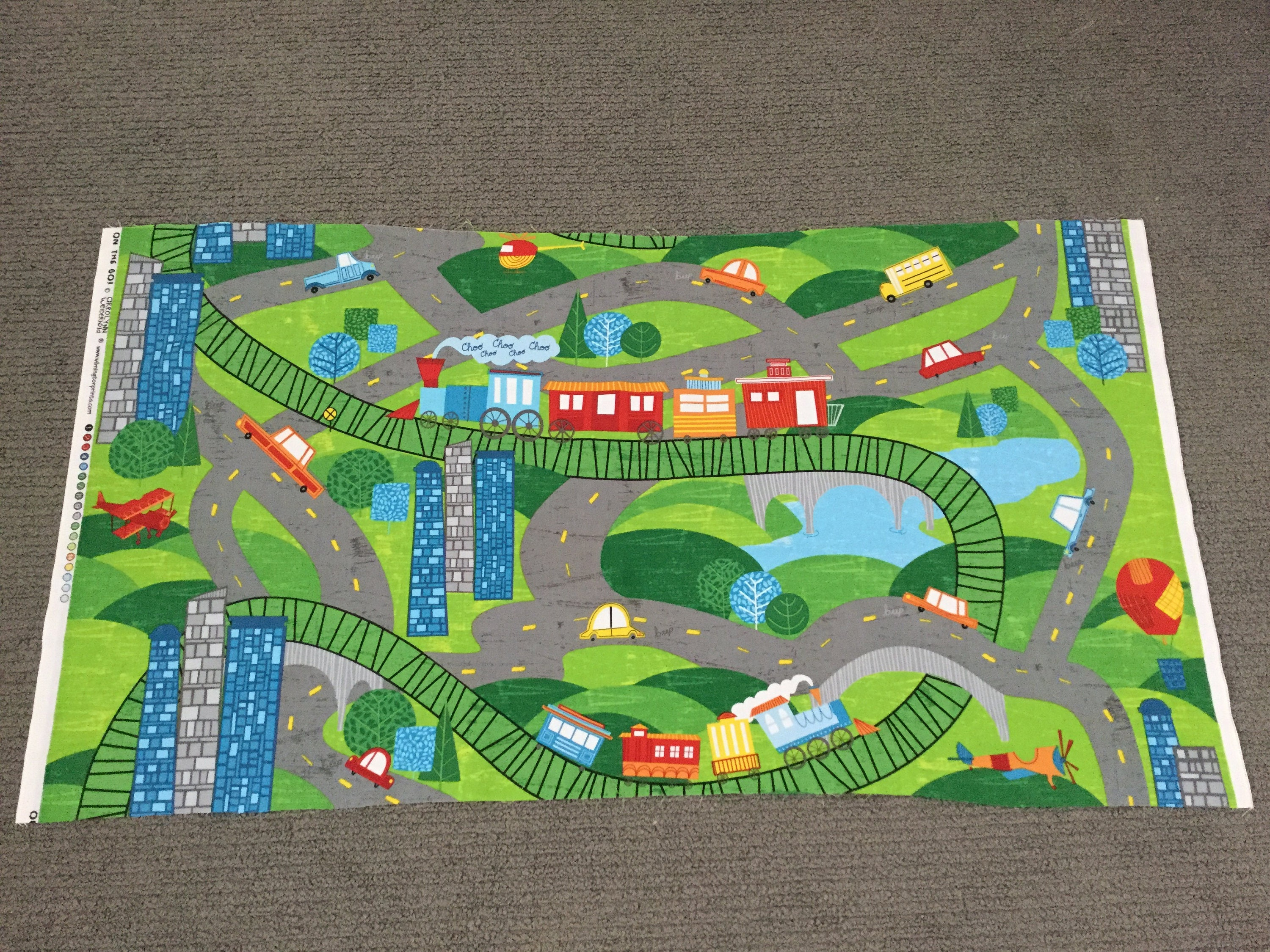 Car Fabric Boys Cotton Quilting Fabric Road Playmat