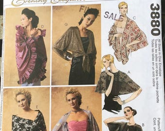 Simplicity Evening Elegance Sewing Pattern 3880 Wraps Stole Capelet Bias Ruffle Self Lined Front Tie Opening Dolman Sleeves   Boho Hippie