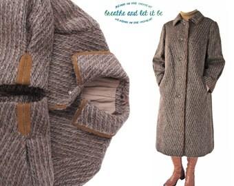 Vintage A Line Llama Wool Coat | Size S M L | Black Tan Beige Striped Fur Long Coats | breathe and let it be