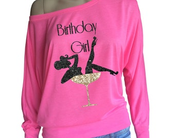 Ladies Birthday Girl Long Sleeve t-shirt with glitter women in Champagne glass. Pink or White