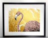 Hand Printed Flamingo Bird Screen Print - Exotic Bird of Paradise / Wildlife / Pink / Gold Pearl Metallic Design