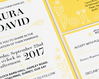 Yellow Spring Themed Wedding Invitation Set