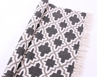 Cotton rug Geometry grey