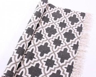 Cotton rug Geometry grey