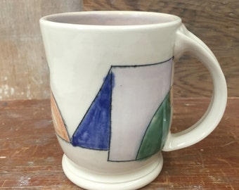 Geometric Mishima Porcelain Mug - Handmade Wheel Thrown Pottery Cup in Green Blue Brown Lilac Linear Design 16 oz