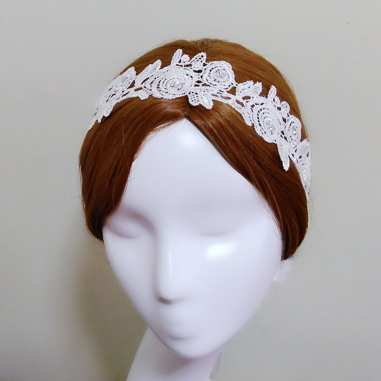 White Floral Headpiece Rhinestone Headpiece Lace Bridal Hairpiece