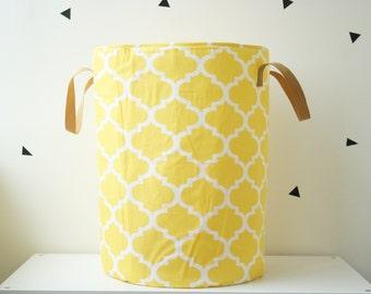 Toy basket, Laundry basket, Toy storage, Nursery fabric basket, Yellow toy basket