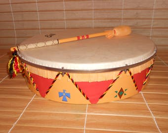 18'' Shaman Drum with stick - red-yellow