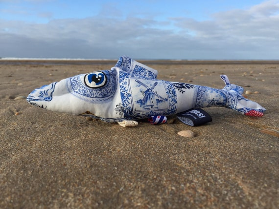 Summer sale! -20% The Dutch Herring Delft Blue tag sensory and rattle toy fish with Holland themed ribbons and a crinkle fin.
