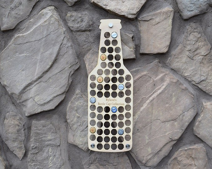 Beer Bottle Beer Cap Holder with Personalized Text