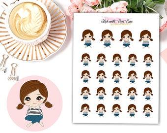 Amelie kawaii girl BORING DAY planner stickers || Erin Condren Life Planner, Kikki K, Plum Paper Planner