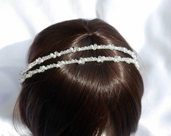 White Pearl Double Bridal Tiara Band, Pearl Bridal Hair accessory, Brides Hair band, Wedding Hair, Double Pearl tiara, White pearl aliceband