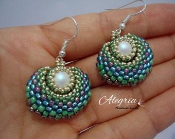 peyote earrings SWAROVSKI pearl