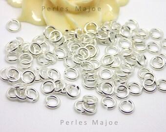 100 x anneaux de jonction ouverts argentés diamètre 4 mm