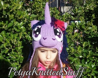 Twilight Sparkle Hat , My Little Pony Hat, Twilight Sparkle Costume, MLP Hat, Halloween hat, Halloween Costume, MLP Twilight Sparkle Hat