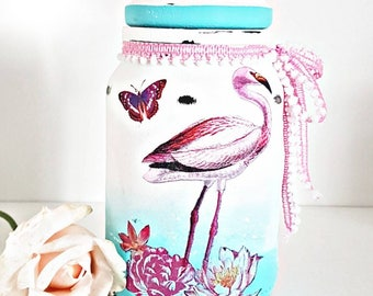 Flamingo jar, ombre jar, decoupage jar, flamingo gift, pink and mint, home decor, gift for her, gift for home, new home gift, flamingo decor