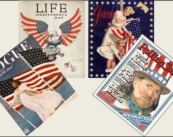 4 Miniature   '4th JULY'  Independence Day  Magazines  -  Dollhouse 1/6   1/12    1/24   1/48   Play scale