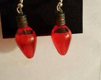 Handmade red Christmas light dangle earrings