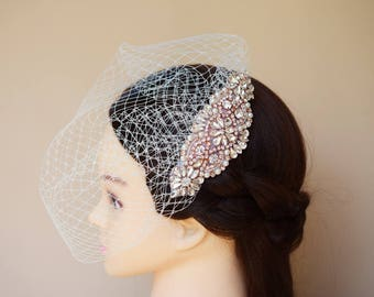 Wedding Veil, Bridal Veil,  Birdcage Veil, Rhinestone Hair Comb, Vintage Style veil, Blusher veil, Ivory Veil, White Veil, Bridal Fascinator