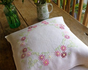 Vintage Cotton Mix Hand Embroidered Cushion Cover 42x46cm