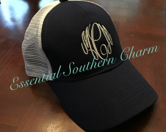 Monogrammed Trucker Hats   Sorority Greek   Embroidered hat