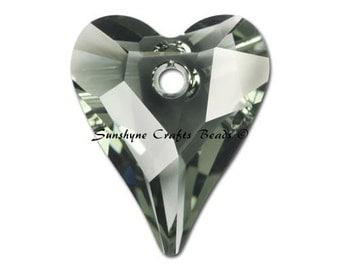 Swarovski Crystal Beads 2 Pcs 6240 BLACK DIAMOND Wild Heart Bead Pendant 12x10MM
