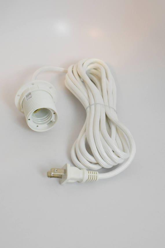 Kabel-Set mit Lampe Steckdose weiß Anhänger leichtes Tuch