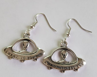 I want to believe alien ufo earrings