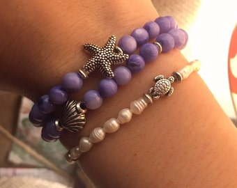 Periwinkle Beaded Bracelet with Silver Starfish