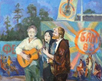 VINTAGE CONVERSATION PIECE Original Oil Painting by Spinatieva L. 1980s Genre painting, Genre scene, Singers, Soviet Fine Art, One of a kind