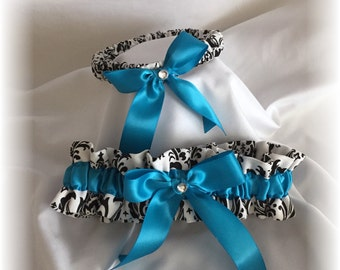 Black and White Madison Damask with Turquoise Wedding Bridal Garter Set