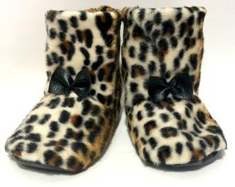 Baby Faux Fur Leopard Booties, shoes