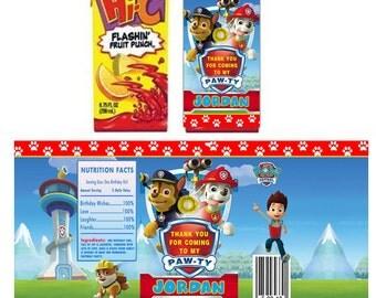 Paw Patrol personalized Juice box sticker/ labels - Printable