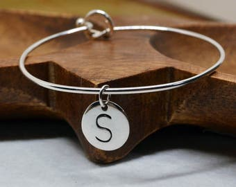 Sterling Silver bangle with Initial disc, initial bangle, sterling silver bangle