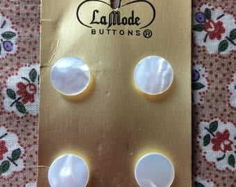 """Vintage 4 New Pearly White Round Buttons 1/2"""" Plastic by La Mode"""
