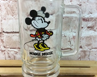 Vintage Walt Disney Minnie Mouse Collectors drinking heavy glass mug 12oz