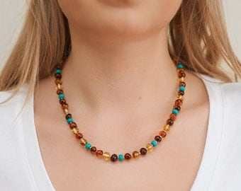 Baltic Amber Necklace 100% Natural Genuine Amber Beaded Necklace Turquoise Necklace Handmade Necklace Amber Choker Genuine Turquoise N004-T