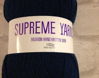 2 x Supreme Yarns Dark Petrol colour 100g ball of mixed fibre yarn.100% Acrylic, Knitting, Crochet ,Looming,Double Knit, cheap yarn ,wool