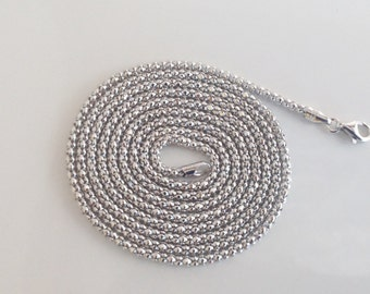 "Sterling Silver Popcorn Chain,925 Popcorn Chain,Rhodium Chain,Silver Chain,2.3mm Chain,Italian Chain,36""Chain,Extra Long Chain"