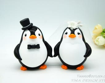 Funny Penguin Wedding Cake Toppers-Cheap Love Bird Wedding Cake Toppers-Personalised Bride And Groom Wedding Cake Toppers